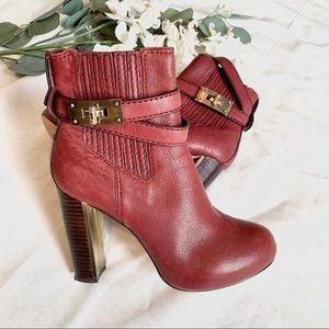 BCBGMaxAzria | leather stacked heel ankle boots 6